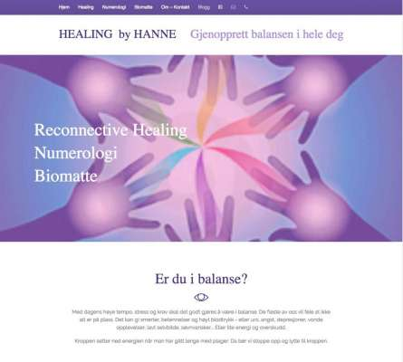 Healingbyhanne.no nettsted In2it media as