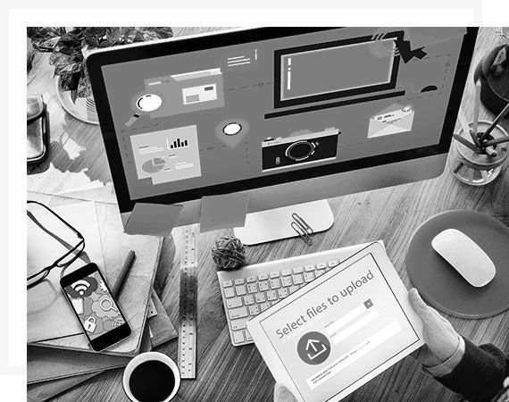 imac-svart-hvitt skrivebord